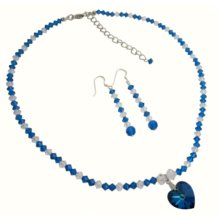 Fashion Jewelry For Everyone Collections Genuine Swarovski Blue & AB Crystals w/ Pendant Necklace Set at Sears.com