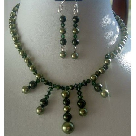 Fashion Jewelry For Everyone Collections Genuine Green FreshWater Pearls & Tahitan Crystals Necklace Set at Sears.com