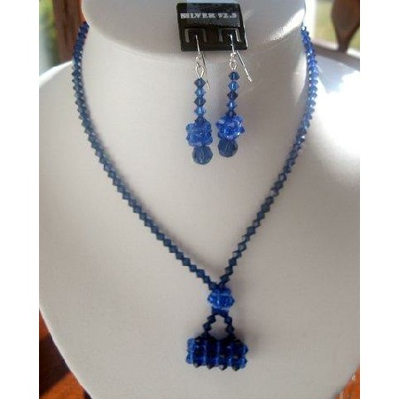 Fashion Jewelry For Everyone Collections Genuine Sapphire Swarovski Crystals w/ Purse Pendant Necklace Set at Sears.com