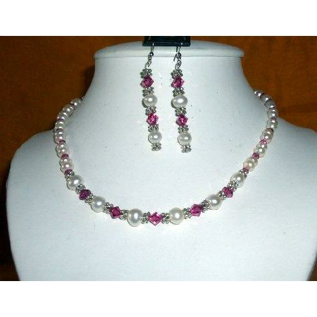 Fashion Jewelry For Everyone Collections Vintage Necklace White FreshWater Pearls & Swarovski Fuschia Crystals at Sears.com