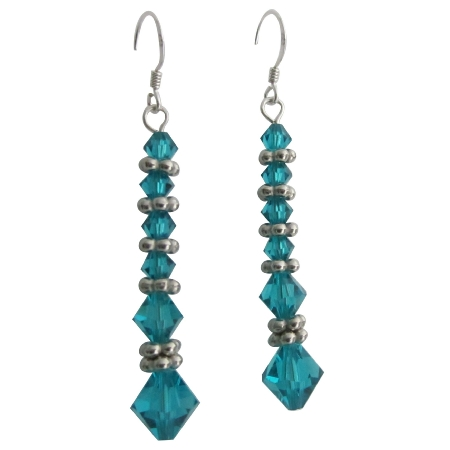 Fashion Jewelry For Everyone Collections Ethnic Genuine Swarovski Blue Zircon Crystals w/ Bali Silver Earrings at Sears.com