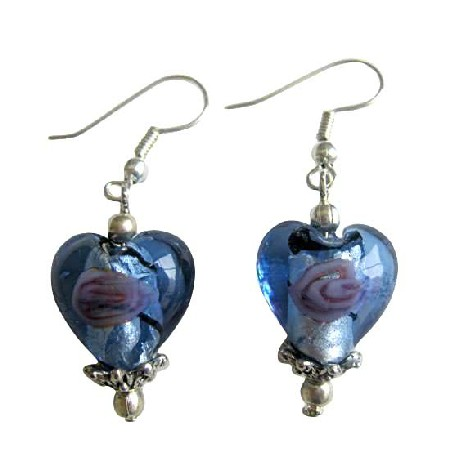 Fashion Jewelry For Everyone Collections Blue Heart Millefiori Self Designed Bead Earrings w/ Bali Silver at Sears.com