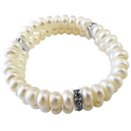 FashionJewelryForEveryone.com Double Stranded Stretchable Freshwater Pearls Bracelet With Silver Rondells Spacer Wedding Bracelet at Sears.com