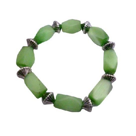 FashionJewelryForEveryone.com Green Barrel Cat Eye Stretchable Bracelet Daisy Spacing Beads Bracelet at Sears.com