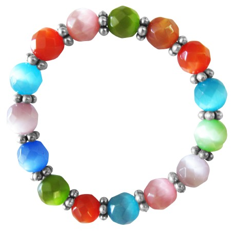 FashionJewelryForEveryone.com MultiColor Cat Eye Stretchable Bracelet 9mm Faceted Bead Daisy Spacing at Sears.com