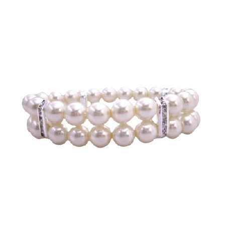 FashionJewelryForEveryone.com Double Strands Cream Pearls Stretchable Bracelet With Silver Rondells at Sears.com