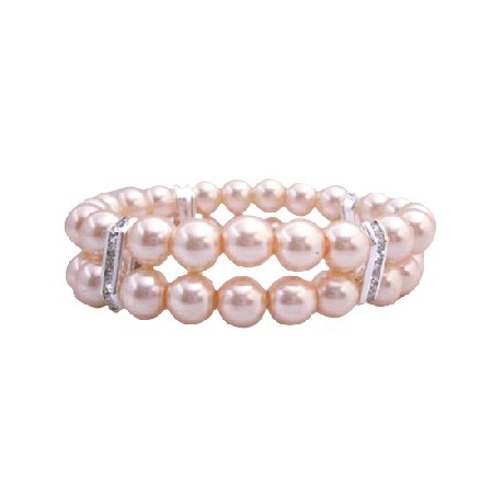 FashionJewelryForEveryone.com Peach Pearls Stretchable Bracelet Double Stranded Bracelets at Sears.com
