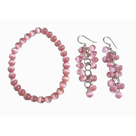 FashionJewelryForEveryone.com Pink Cats Eye Stone Bead Beaded Dangle Hook Earrings Stretch Bracelets at Sears.com