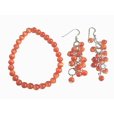 FashionJewelryForEveryone.com Dark Orange Cats Eye Stone Bead Sterling Chandelier Earrings Bracelet at Sears.com