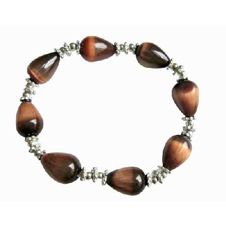 FashionJewelryForEveryone.com Brown Teardrop Stretchable Bracelet Brown Cat Eye Daisy Spacing Beads at Sears.com