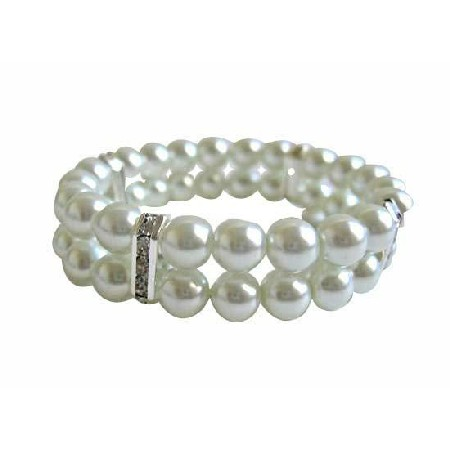 FashionJewelryForEveryone.com White Pearls Double Stranded Stretchable Bracelet w/ Silver Rondells at Sears.com