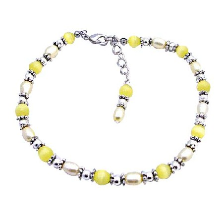 FashionJewelryForEveryone.com Yellow Cat Eye Beads Bali Silver Freshwater Pearls Bracelet at Sears.com