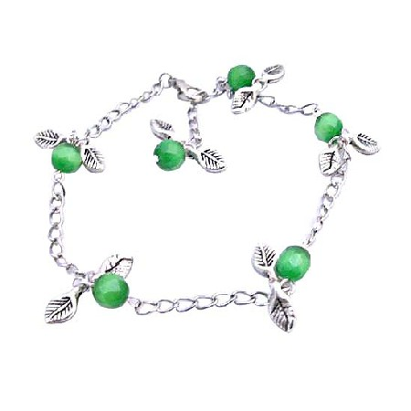 FashionJewelryForEveryone.com Charm Leave Faceted Green Cat Eye Beads Silver Plated Chain Bracelet at Sears.com