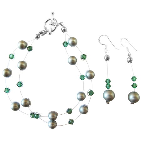 FashionJewelryForEveryone.com Double Stranded Powder Green Pearl Tumarine Swarovski Crystal Bracelet at Sears.com