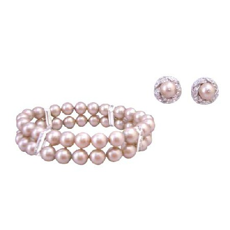 FashionJewelryForEveryone.com Prom Jewelry Champagne 8mm Pearls Double Stranded Stretchable Bracelet at Sears.com