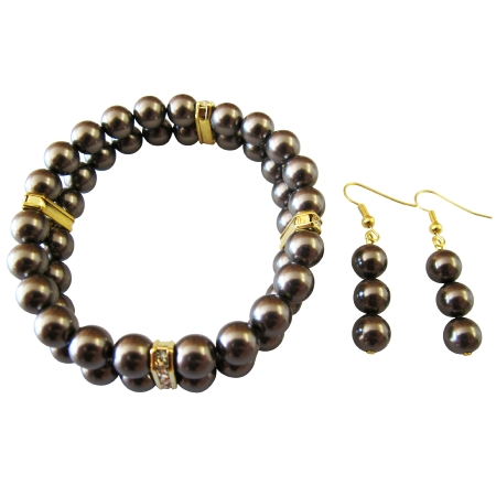 FashionJewelryForEveryone.com Brown Chocolate Pearls Stretchable Double Stranded Bracelet Earrings at Sears.com