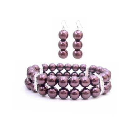 FashionJewelryForEveryone.com Burgundy Pearls Double Stranded Bracelet & Earrings Jewelry W/ Diamante Spacer at Sears.com