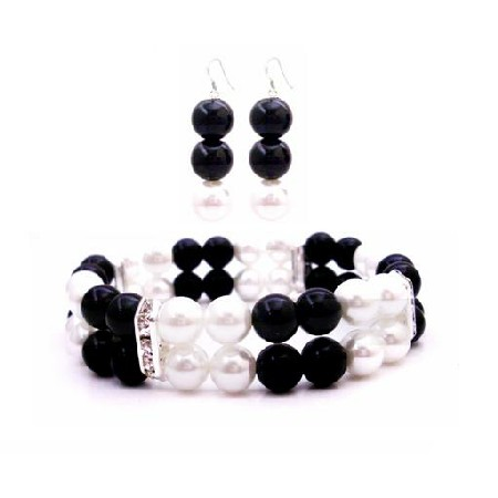 FashionJewelryForEveryone.com Prom Jewelry Flower Girls Double Stranded Bracelet In Black & White Pearls Matching Earrings at Sears.com