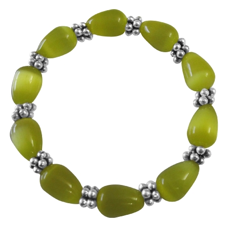 FashionJewelryForEveryone.com Stretchable Bracelet Yellow Cat Eye Beaded Bracelet w/ Daisy Spacing at Sears.com