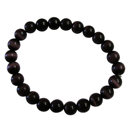 FashionJewelryForEveryone.com Handmade Stretchable Custom Dark Purple Cat Eye Beaded Bracelet at Sears.com