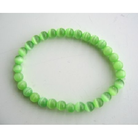 FashionJewelryForEveryone.com Beaded Stretchable Bracelet Green Cat Eye Beaded Handmade Jewelry at Sears.com