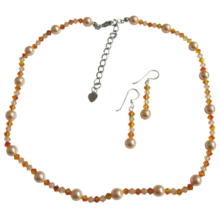 Peach Fire Opal & Light Peach Crystals Necklace Set
