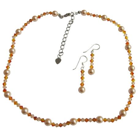 Peach Fire Opal & Light Peach Crystals Necklace Set