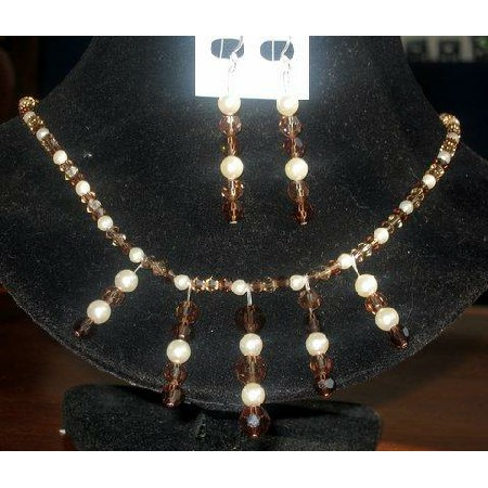 Austrian Smoked Topaz Crystals Cream Pearls Necklace Set Handmade