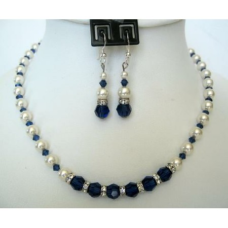Vintage Necklace Set in White Pearls Sapphire Crystals Jewelry