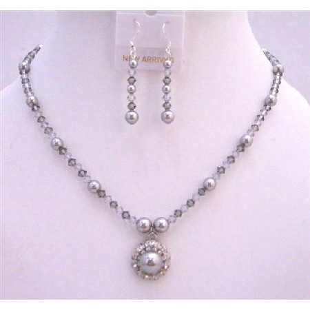Swarovski Grey Crystals & Pearls Necklace Set