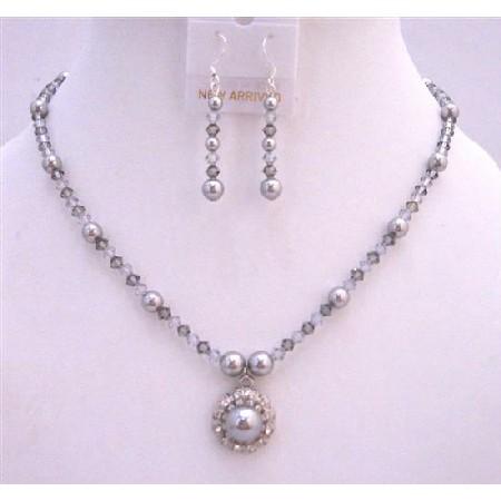 Swarovski Grey Crystals & Pearls Necklace Set