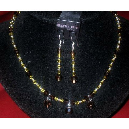 Swarovski Smoked Topaz & Lime Necklace & Earrings
