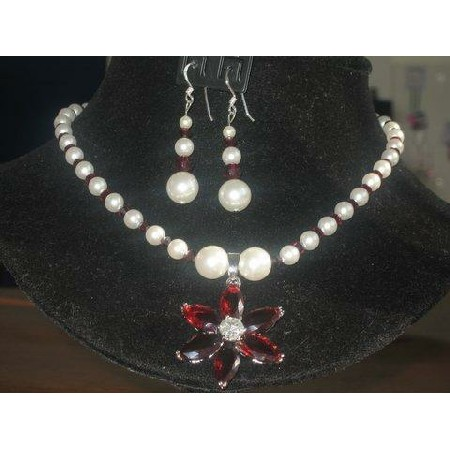 Swarovski Garnet Crystals & Cream Rose Pearls Necklace Custom Jewelry