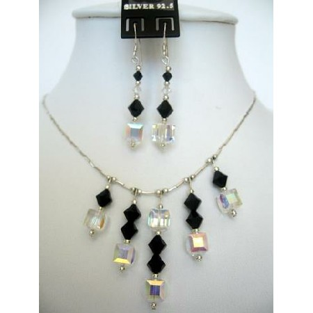 Swarovski Jet Crystals & AB Crystals Sterling Silver Necklace