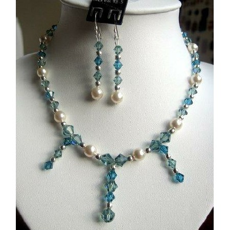 Swarovski Aquamarine Crystals & cream Pearls Necklace Set