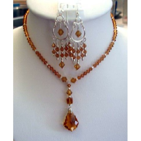 Swarovski Austrian Topaz Crystals Necklace Set Custom Jewelry