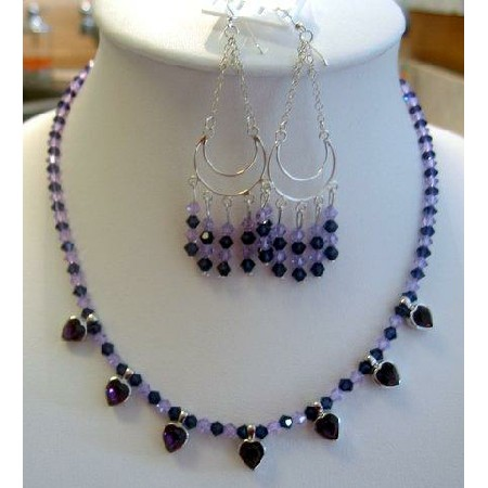 Austrian Swarovski Amethyst Crystals Handcrafted Necklace Set