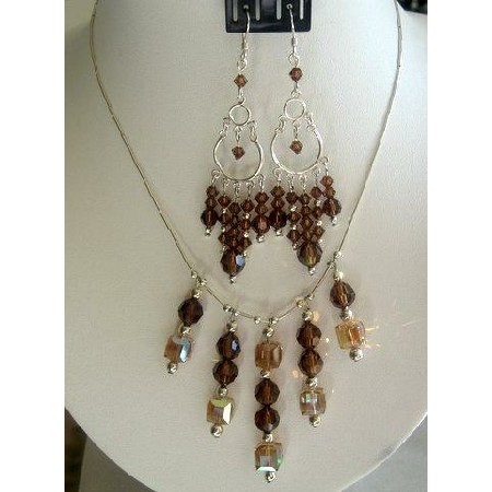 Handmade Lite Dark Topaz Crystals Bridal Sterling Siler Necklace Set