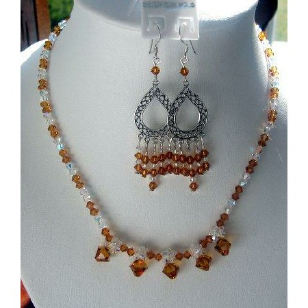 Swarovski Topaz & AB Crystals Sterling Silver Necklace & Earrings