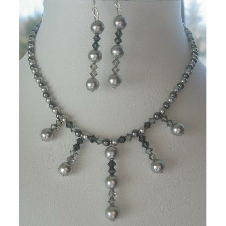 Swarovski Grey Pearls & Crystals Necklace & Earrings Custom Jewelry