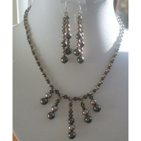 Swarovski Dark Topaz & Champagne Pearls Necklace Set
