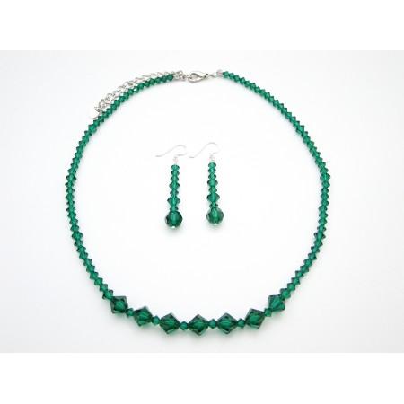 Vintage Necklace Set in Swarovski Emerald Crystals