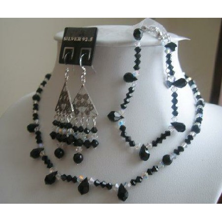 Authentic Jet Swarovski Crystals AB Crystals Necklace Set w/ Bracelet