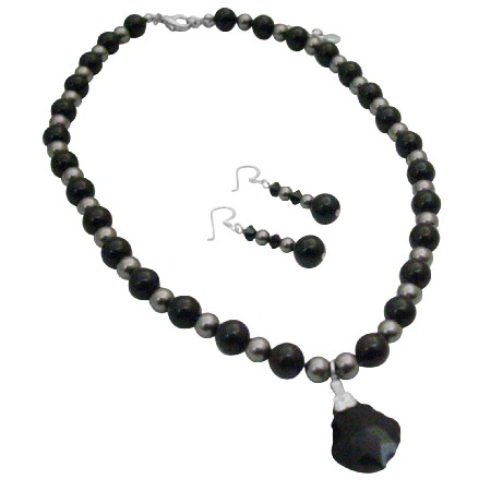 Mystic Swarovski Jet Pearls Dark Grey Pearl Heart Pendant Necklace Set