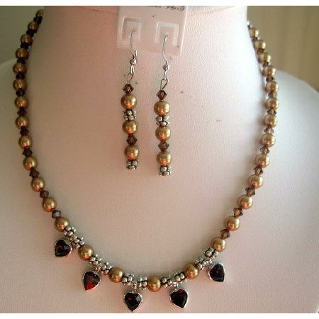 Golden Swarovski Pearls w/ Smoked Topaz Crystals Necklace Set Handmade