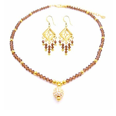 Handmade Swarovski Smoked Topaz Crystals 22k Gold Plated Pendant Set