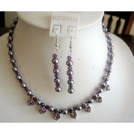 Swarovski Purple Pearls Amethyst Crystals heart Pendants Necklace Set