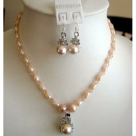 Peach freshwater Pearls custom peach Crystals 20 Inches Necklace Set