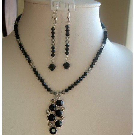 Handmade Swarovski Crystals jet Black diamond grape Pendant Necklace