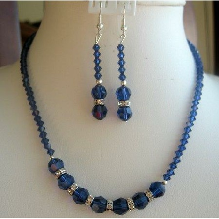in crystals necklace sapphire vintage crystalsstatic set swarovski handmade jewellery